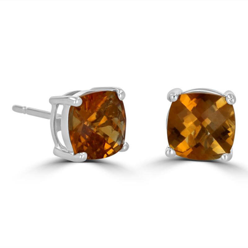 7MM CUSHION CHECKERED CITRINE EARRINGS