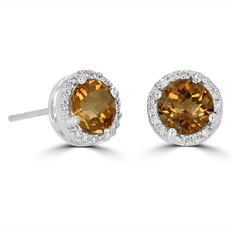 JCX391880: 6MM ROUND CHECKERED CITRINE HALO EARRINGS