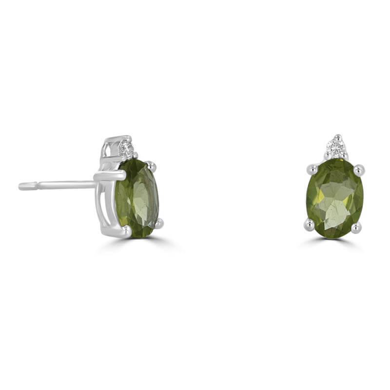 JCX391898: 5X7 OVAL PERIDOT AND ONE DIAMOND ON TOP EARRINGS