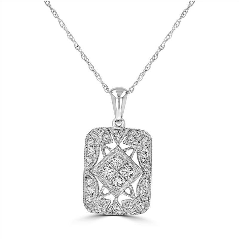 INVISIBLE CENTER DIAMOND ANTIQUE PENDANT (CHAIN NOT INCLUDED)