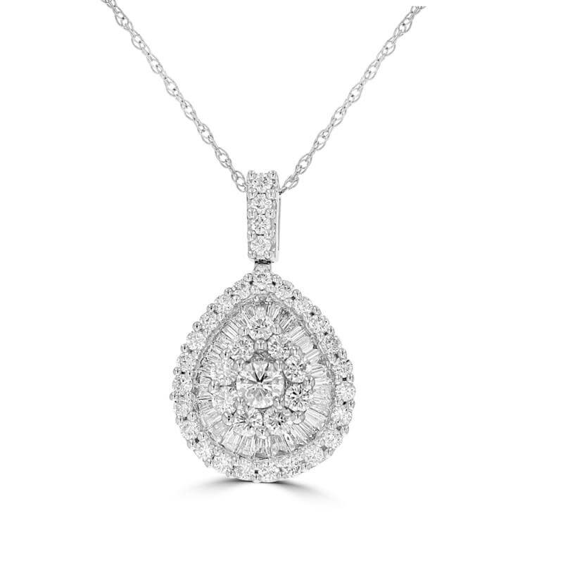 ROUND AND BAGUETTE DIAMOND PENDANT (CHAIN NOT INCLUDED)