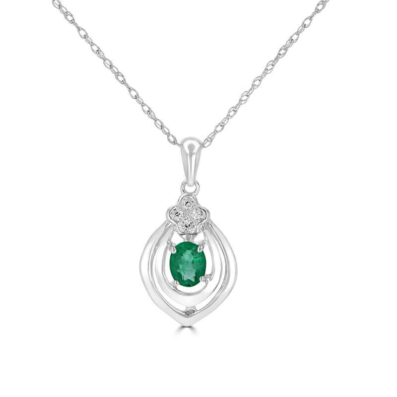 3X4 OVAL EMERALD & 4 ROUND DIAMOND PENDANT (CHAIN NOT INCLUDED)