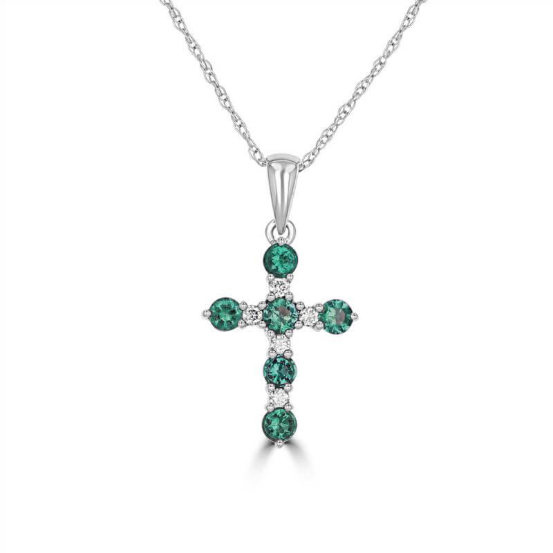 ROUND EMERALD AND ROUND DIAMOND CROSS PENDANT (CHAIN NOT INCLUDED)