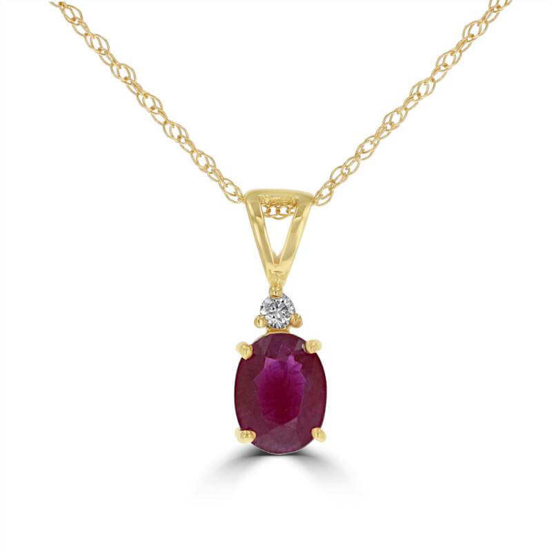 4X6 OVAL RUBY & ONE DIAMOND PENDANT (CHAIN NOT INCLUDED)