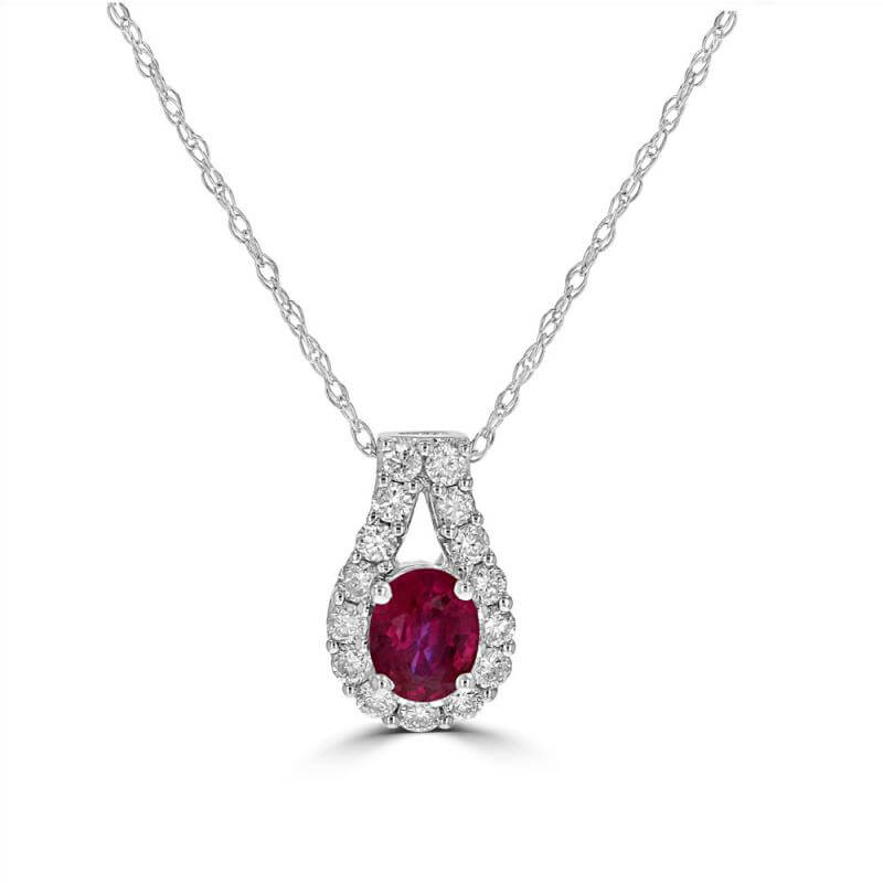 OVAL RUBY SURROUNDED BY DIAMOND PENDANT