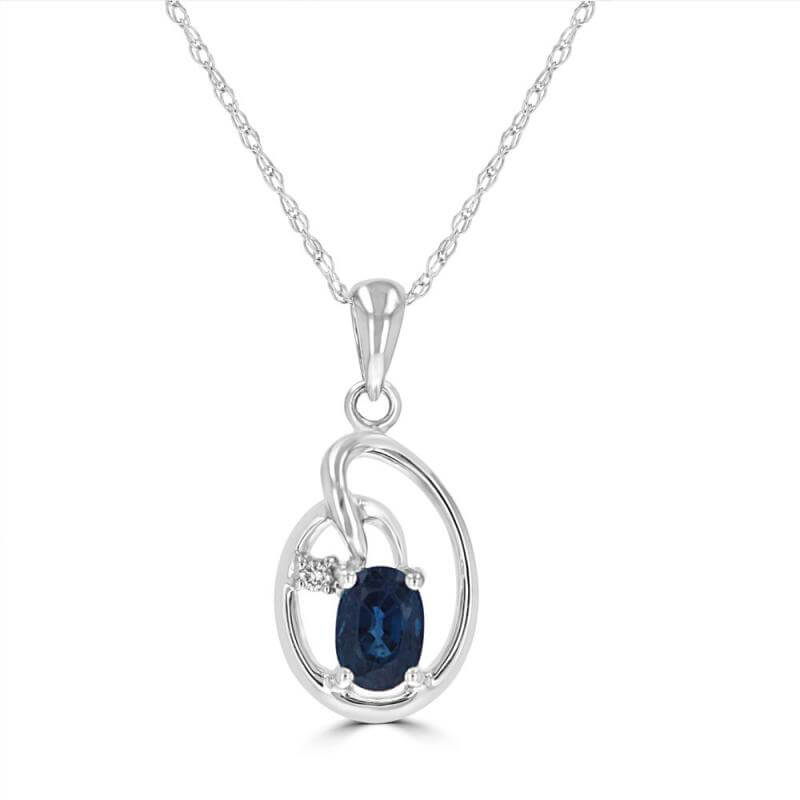 4X5 OVAL SAPPHIRE & ONE ROUND DIAMOND PENDANT (CHAIN NOT INCLUDED)