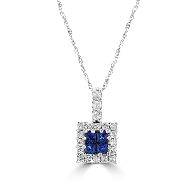 INVISIBLE SAPPHIRE HALO PENDANT (CHAIN NOT INCLUDED)