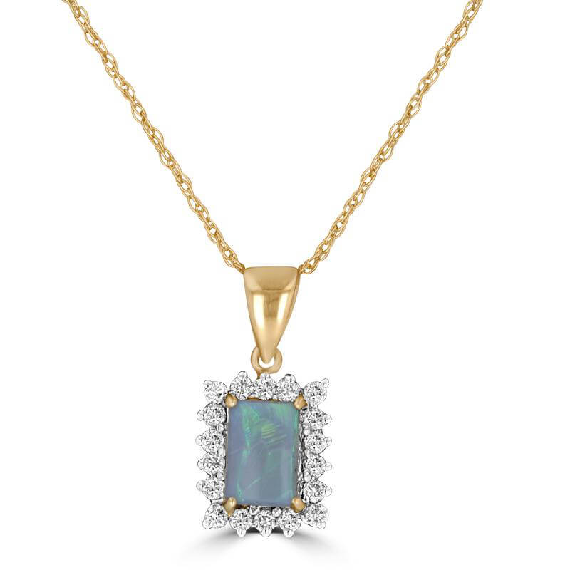 4X6 RECTANGLE OPAL SURROUNDED BY DIAMOND PENDANT (CHAIN NOT INCLUDED)