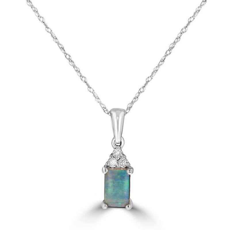 4X6 RECTANGLE OPAL & 3 DIAMOND ON TOP PENDANT (CHAIN NOT INCLUDED)