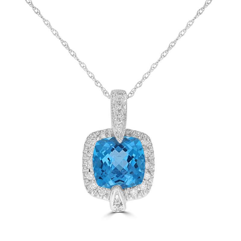 8MM CUSHION BLUE TOPAZ SURROUNDED BY DIAMOND PENDANT