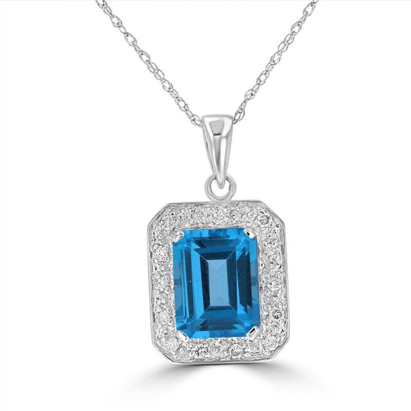7X9 BAGUETTE BLUE TOPAZ & SURROUNDED BY ROUND DIAMOND PENDANT