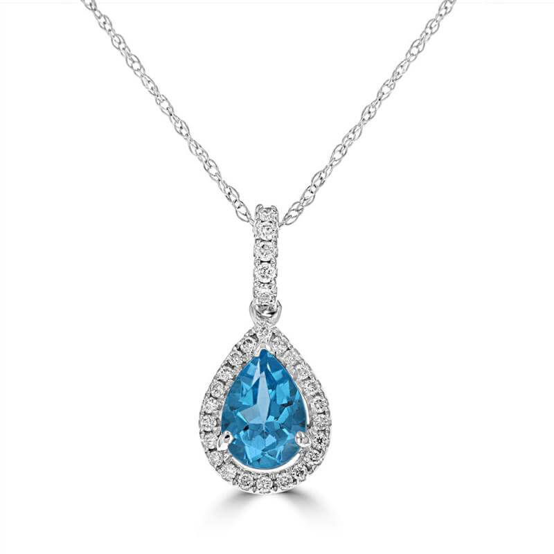 5X7 PEAR BLUE TOPAZ SURROUNDED BY DIAMOND PENDANT