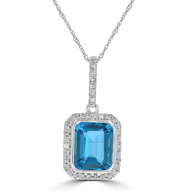 EMERALD CUT BLUE TOPAZ SURROUNDED BY PAVE DIAMOND PENDANT (CHAIN NOT INCLUDED)