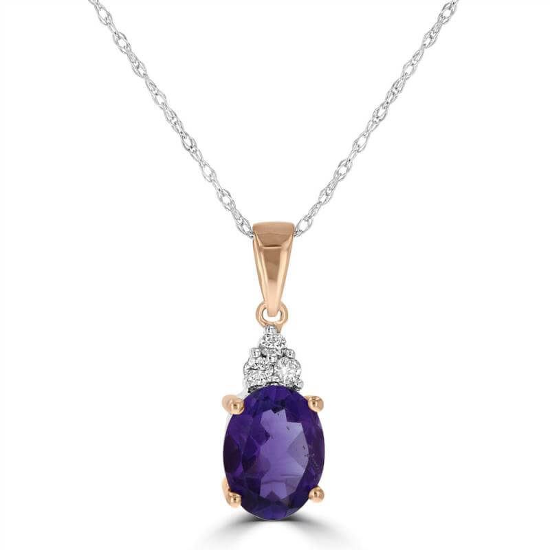 6X8 OVAL AMETHYST & 3 DIAMOND ON TOP PENDANT (CHAIN NOT INCLUDED)