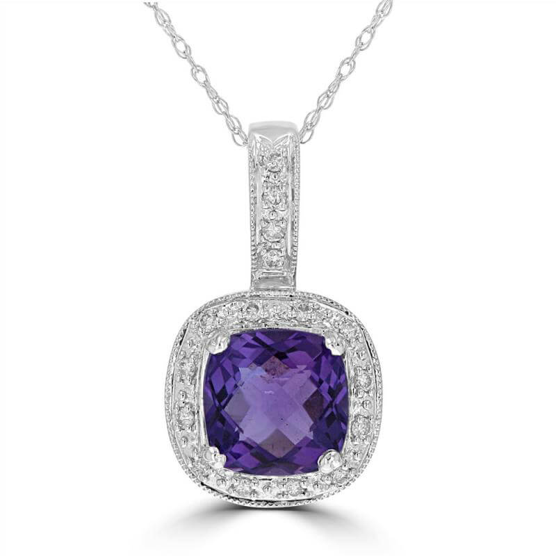 CUSHION AMETHYST SURROUNDED BY DIAMOND PENDANT