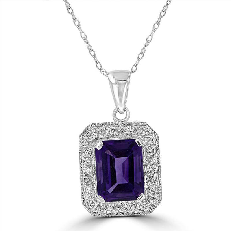 7X9 BAGUETTE AMETHYST & ROUND DIAMOND PENDANT (CHAIN NOT INCLUDED)
