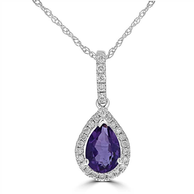 5X7 PEAR AMETHYST SURROUNDED BY DIAMOND PENDANT