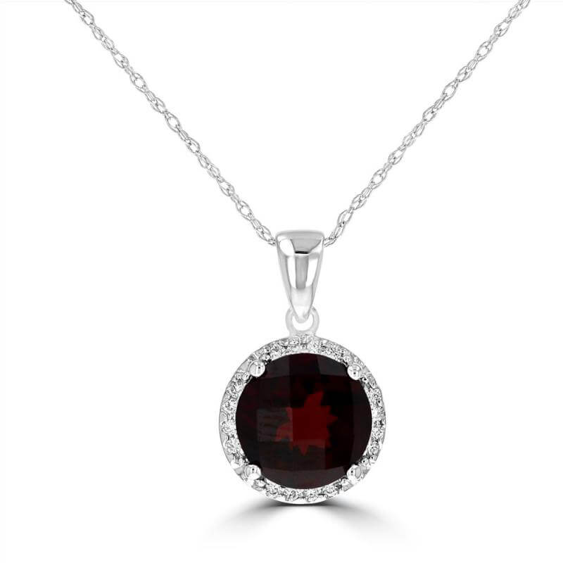 JCX392018: 8.5MM ROUND CHECKERED GARNET HALO PENDANT (CHAIN NOT INCLUDED)
