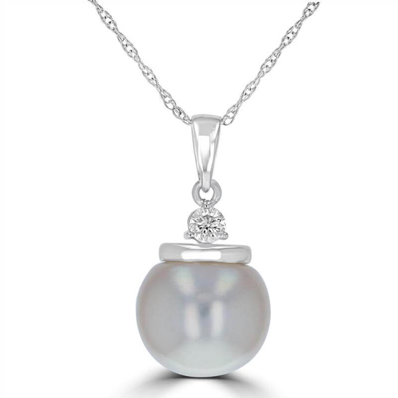 9.5-10MM FRESHWATER PEARL & ONE DIAMOND PENDANT (CHAIN NOT INCLUDED)