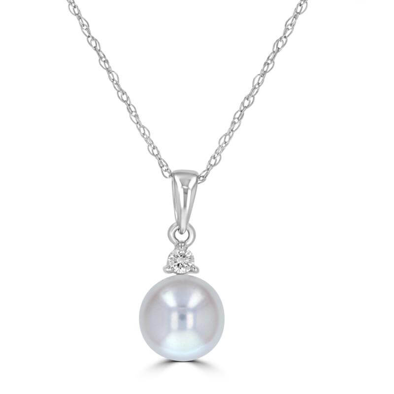 JCX392022: 7-7.5MM FRESHWATER PEARL & ONE DIAMOND PENDANT (CHAIN NOT INCLUDED)