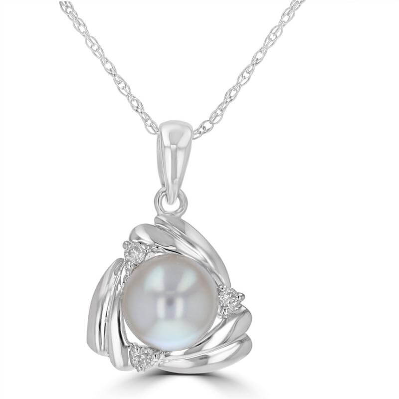 6-6.5MM PEARL & DIAMOND TRIANGLE SHAPE PENDANT (CHAIN NOT INCLUDED)