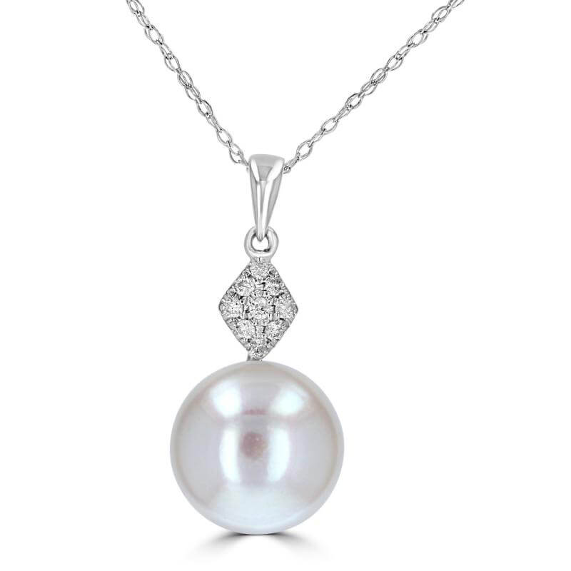 9.75-10MM FRESHWATER PEARL & DIAMOND PENDANT (CHAIN NOT INCLUDED)