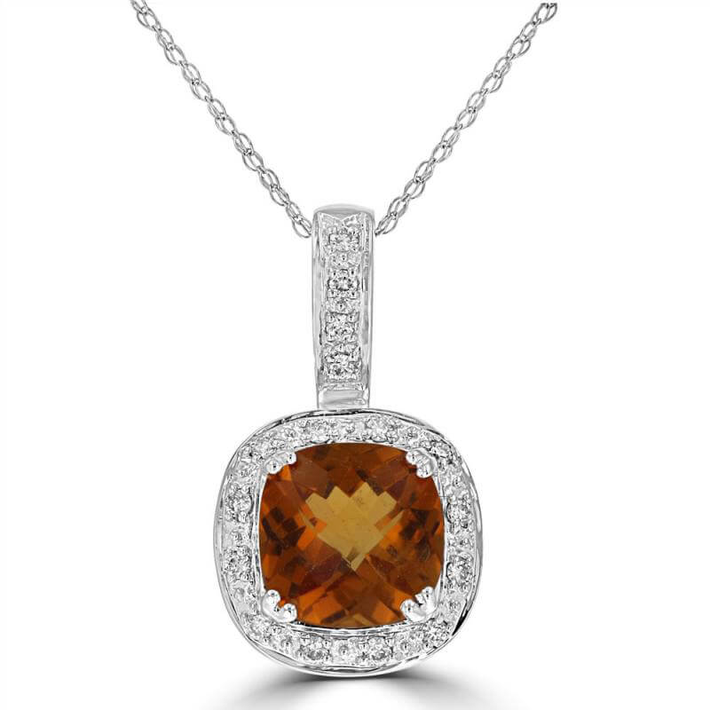 8MM CUSHION CITRINE SURROUNDED BY DIAMOND PENDANT