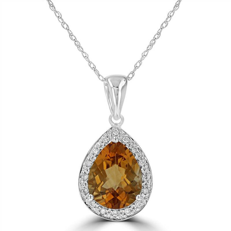 8X10 PEAR CHECKERED CITRINE SURROUNDED BY ROUND DIAMOND PENDANT (CHAIN NOT IN...