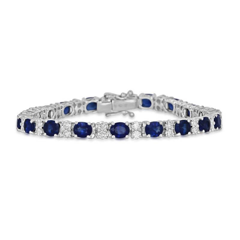 4X5 OVAL SAPPHIRE & TWO ROUND DIAMOND BRACELET