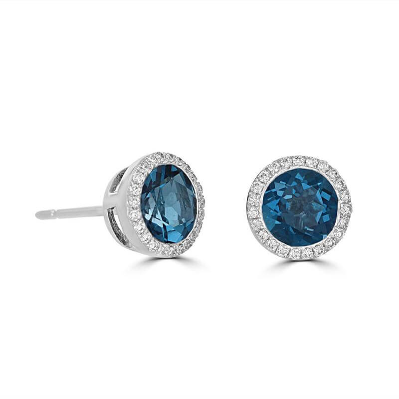JCX392107: 6MM ROUND BLUE TOPAZ HALO EARRINGS