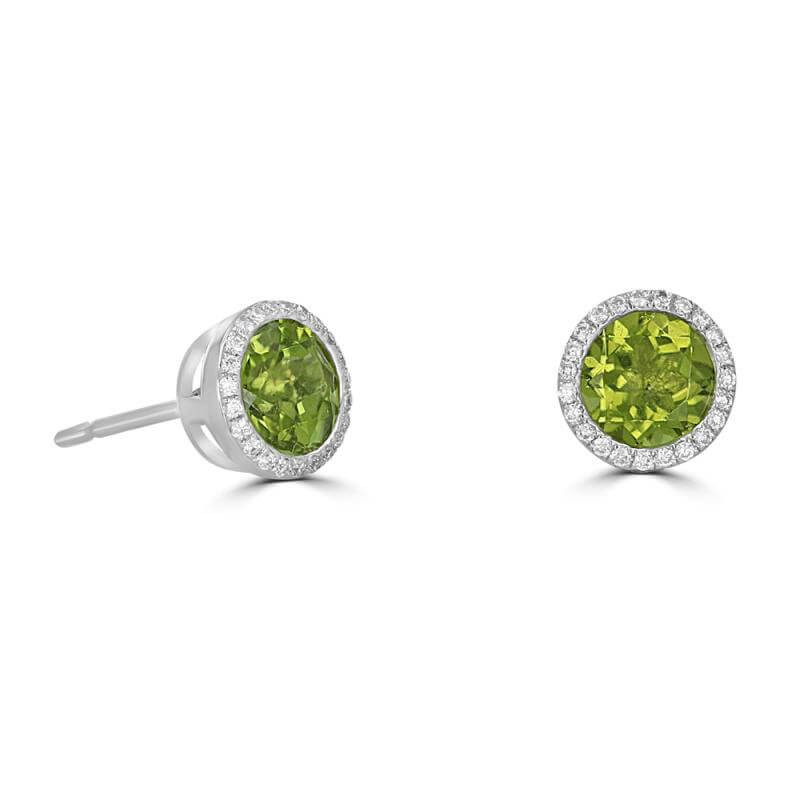 6MM ROUND PERIDOT SURROUNDED BY DIAMOND EARRINGS