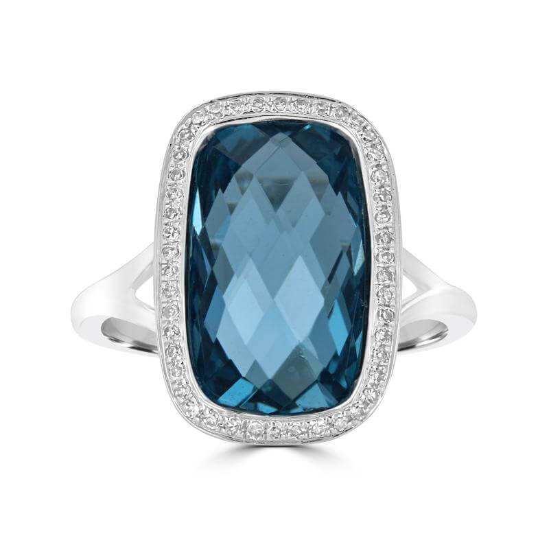 8.5 X 14.5MM CHECKERED BLUE TOPAZ SURROUNDED BY DIAMOND RING