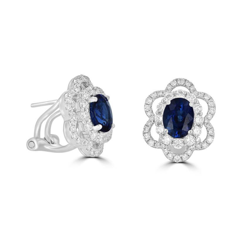 5.5 X 7 OVAL SAPPHIRE SURROUNDED BY 2 ROW DIAMOND EARRINGS