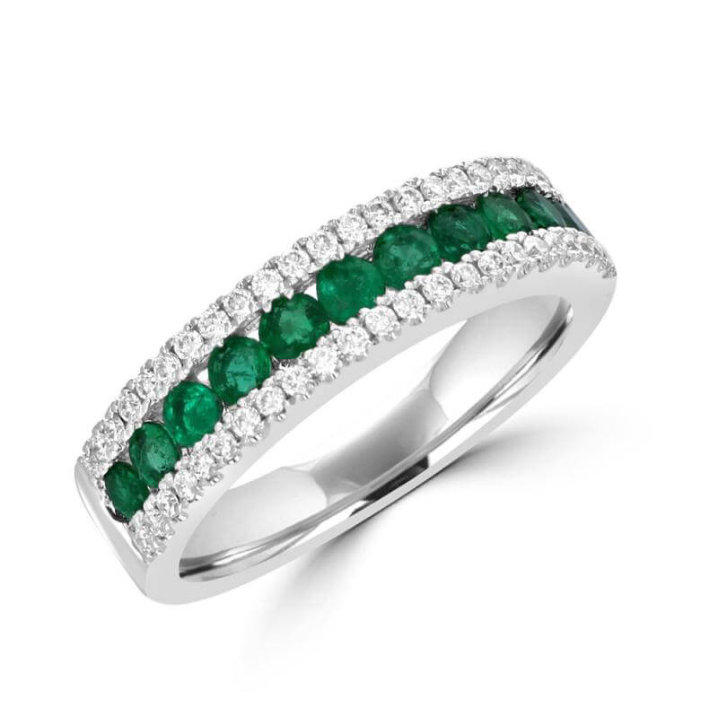 JCX392121: ROUND EMERALD & ROUND DIAMOND BAND