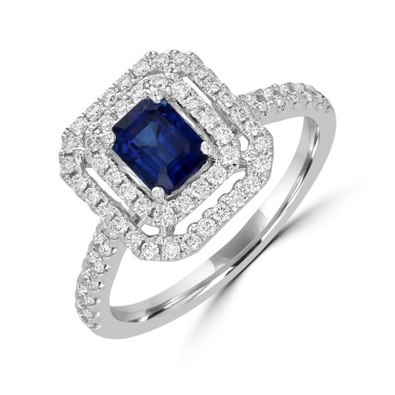 5X5.5 EMERALD CUT SAPPHIRE SURROUNDED BY ROW DIAMOND RING