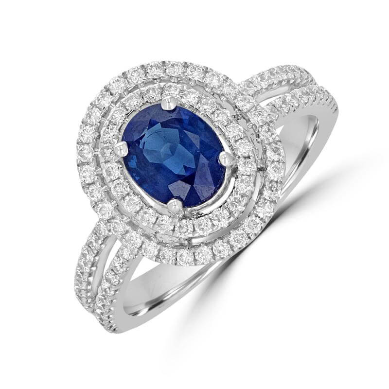 6X7 OVAL SAPPHIRE SURROUNDED BY & ON SHANK 2 ROW DIAMOND RING