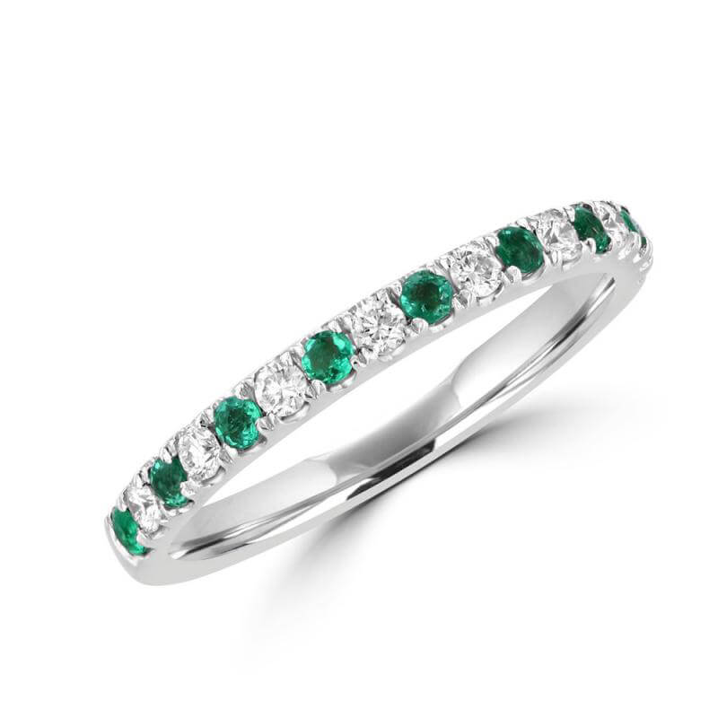 JCX392139: ROUND EMERALD AND ROUND DIAMOND PRONG BAND