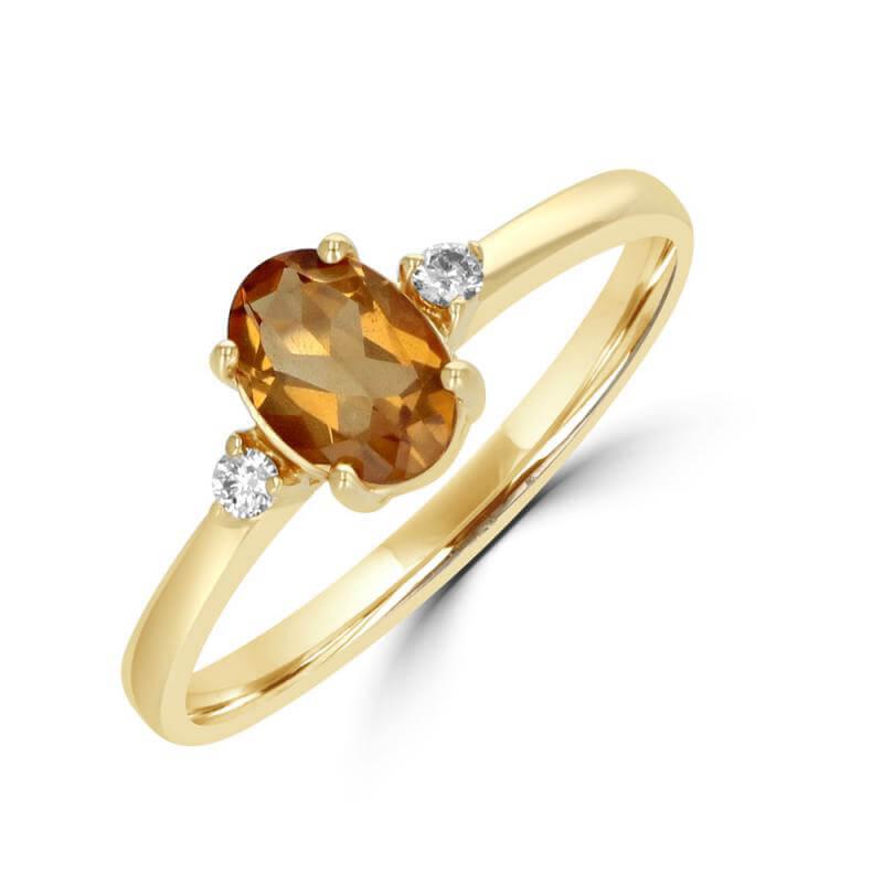 JCX392142: 5X7 OVAL CITRINE W/ ONE DIAMOND EACH SIDE RING