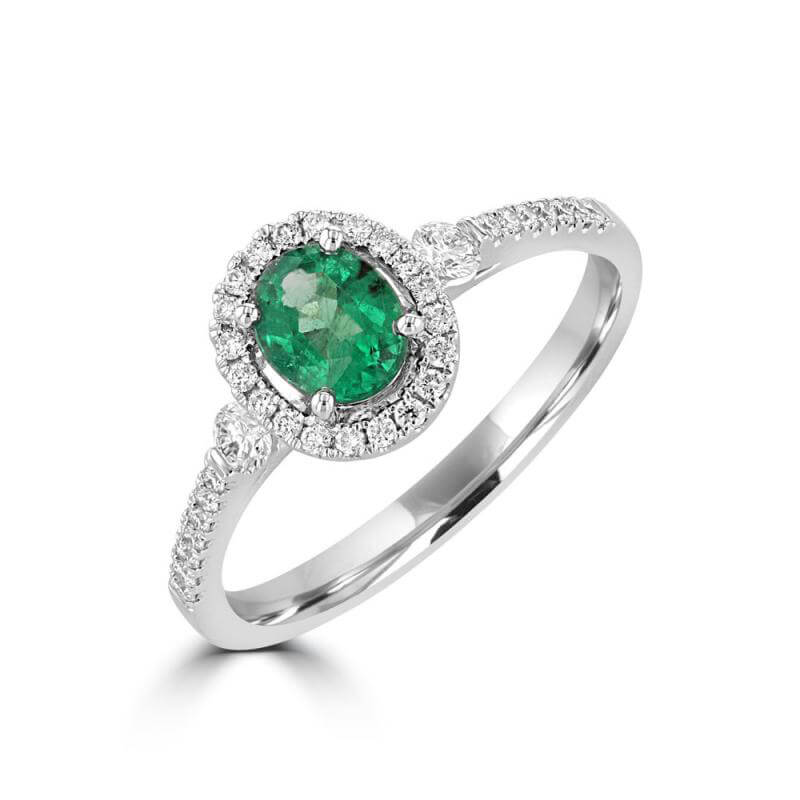 JCX392143: 4.5X6.0 OVAL EMERALD HALO RING