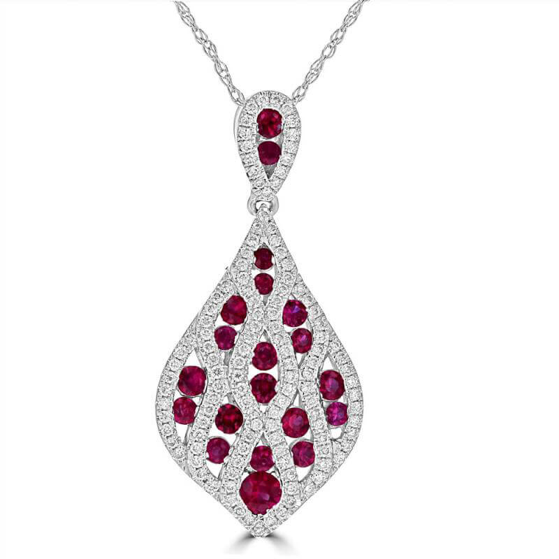 ROUND RUBY & ROUND DIAMOND PENDANT (CHAIN NOT INCLUDED)