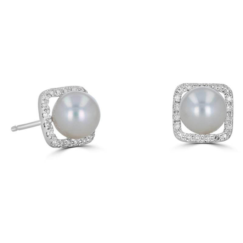 6.5 - 6.8MM FRESHWATER PEARL SURROUNDED BY DIAMOND EARRING