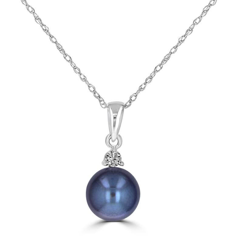 7.00-7.30MM FRESHWATER BLACK PEARL W/ONE DIAMOND ON TOP PENDANT (CHAIN NOT INCLUDED)