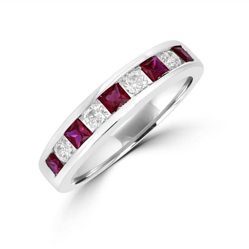 SQUARE RUBY & ROUND DIAMOND CHANNEL BAND