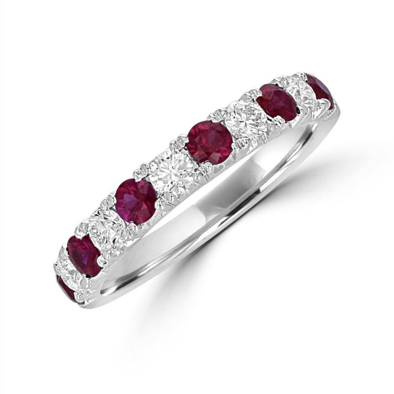 ROUND RUBY AND ROUND DIAMOND BAND RING