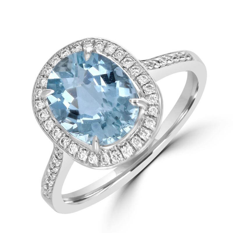 8X10 OVAL AQUAMARINE SURROUNDED BY DIAMOND RING