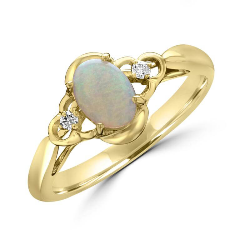 5X7 OVAL OPAL AND ONE DIAMOND EACH SIDE RING