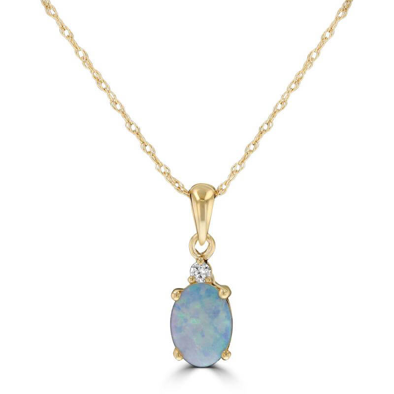 5X7 OVAL OPAL WITH DIAMOND ON TOP PENDANT (CHAIN NOT INCLUDED)