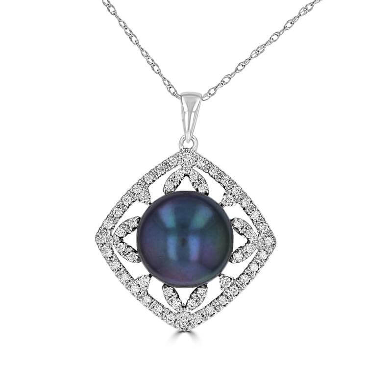10.5-11MM FRESHWATER BLACK PEARL AND DIAMONDS PENDANT (CHAIN NOT INCLUDED)