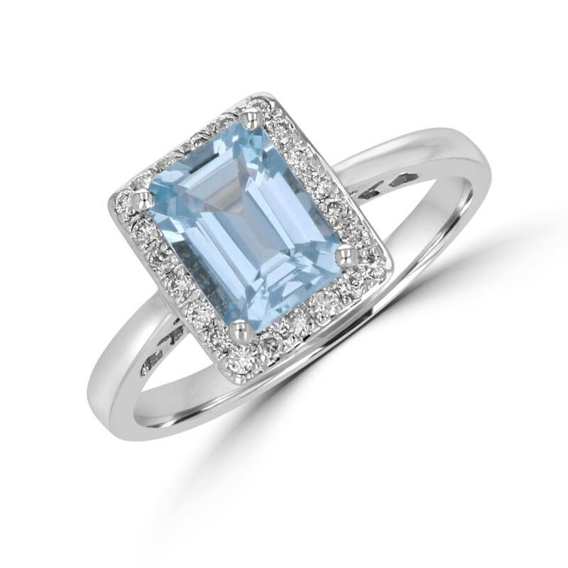 6X8 RECTANGLE CHECKERED AQUAMARINE SURROUNDED BY DIAMOND RING