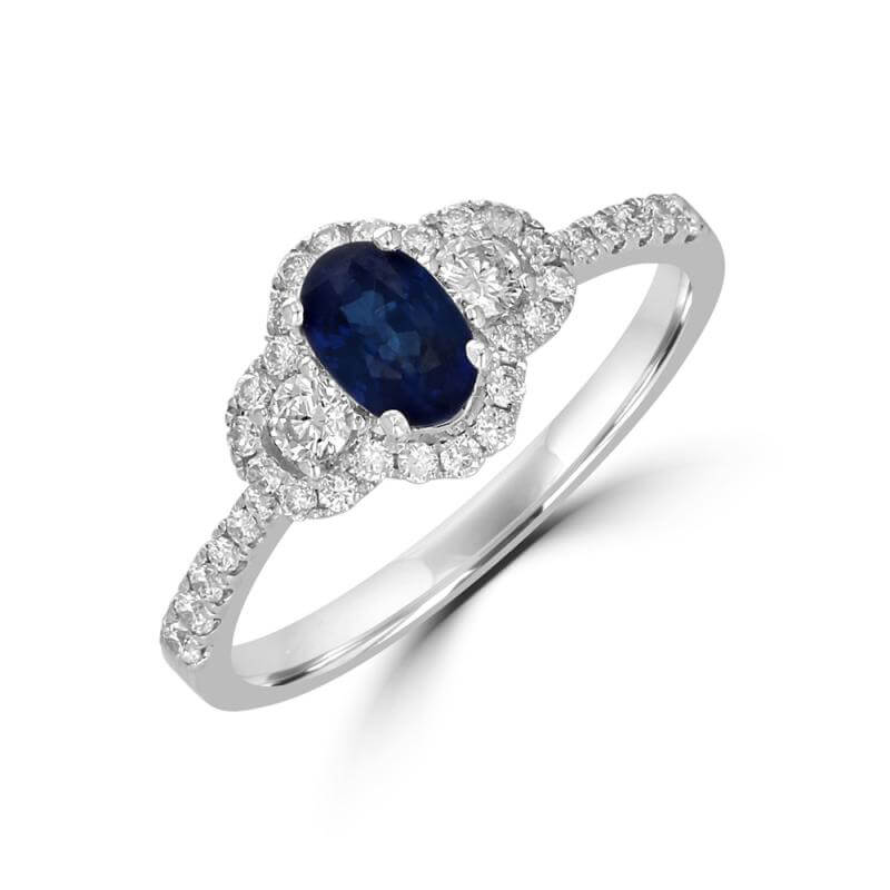 JCX392184: 4X6 OVAL SAPPHIRE SURROUNDED BY ROUND DIAMONDS RING